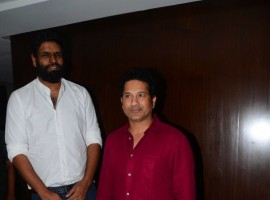 Former Indian cricket player Sachin Tendulkar and Producer of the Sachin Project Ravi Bhagchandka during the media interaction of film Sachin: A Million Dreams in Mumbai on May 12, 2017.