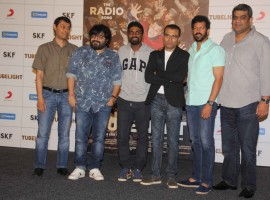 Sanujeet Bhujabal, Marketing Director, Sony Music Entertainment, Bollywood music director Pritam Chakraborty, choreographer Remo D'souza, Lyricist Amitabh Bhattacharya, filmmaker Kabir Khan and Amar Butala, COO, Salman Khan Films during the launch of first song of the film Tubelight, 'The Radio Song' in Mumbai on May 12, 2017.