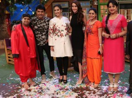 Bollywood actress Manisha Koirala promotes Dear Maya on the sets of The Kapil Sharma Show.