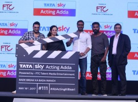 Bollywood Actors Ajay Devgan and Suniel Shetty during the launch of Tata Sky Acting Adda, in Mumbai, on May 16, 2017.