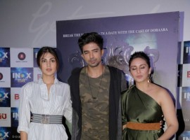 Bollywood actors Rhea Chakraborty, Saqib Saleem and Huma Qureshi during the song launch of Kari Kari from the film Dobaara in Mumbai on May 16, 2017.