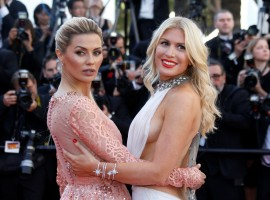 Model Hofit Golan and Victoria Bonya pose at the opening ceremony and screening of the film