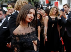 Emily Ratajkowski flashes her cleavage in gothic gown at 70th annual Cannes Film Festival.