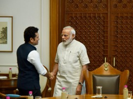 Legendary cricketer Sachin Tendulkar met Prime Minister Narendra Modi and received his blessings for his upcoming biographical film