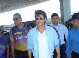 Kolkata Knight Riders co-owner Shah Rukh Khan leaves for Bengaluru to cheer for his team KKR.