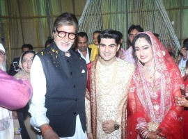 Bollywood Actor Amitabh Bachchan at actor Ali Khan's daughter wedding reception in Mumbai on May 19, 2017.