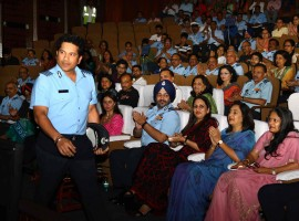 Legendary cricketer Sachin Tendulkar during a special screening of his film 'Sachin: A Billion Dreams' for Air Force at Air Force Auditorium, Subroto Park in New Delhi on May 20, 2017. Also seen Indian Air Force Chief BS Dhanoa.