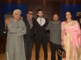 Celebs like Javed Akhtar, Dharmendra, Utkarsh Sharma, Anil Sharma and Hema Malini spotted during the mahurat ceremony of Utkarsh Sharma's debut film Genius in Mumbai on May 22, 2017.
