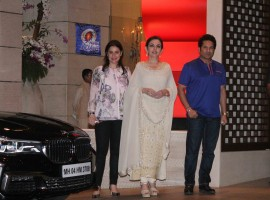 Nita Ambani owner of Mumbai Indians along with former Indian cricket player and Mumbai Indians icon player Sachin Tendulkar with his wife Anjali Tendulkar during the party organised to celebrates Mumbai Indians victory in the Indian Premier League (IPL) 2017 in Mumbai on May 22, 2017. Mumbai Indians won the IPL title against Rising Pune Supergiant.