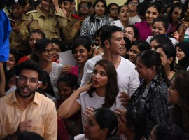 Bollywood actor Akshay Kumar and actress Parineeti Chopra spotted during the graduation day ceremony of Women self defense center, in Mumbai on May 20, 2017.