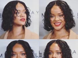 Barbadian singer Robyn Rihanna Fenty flaunts her short curly hair.