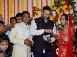 Bollywood actor Vivek Oberoi attend the wedding ceremony of acid attack survivor, Lalita Bansi in Mumbai.