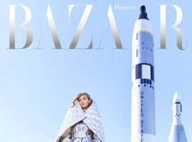 Harper's Bazaar's June 2017 Issue: Gigi Hadid's shimmering silver suit will want you to aim for the space as well.