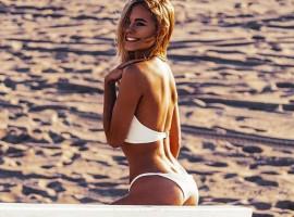Kimberley Garner sizzles in white bikini.