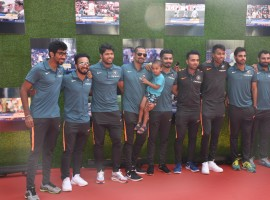 The Indian cricket team came together to watch the special screening of legendary cricketer Sachin Tendulkar's biographical drama film 'Sachin: A Billion Dreams', in Mumbai today. Cricketers like Mahendra Singh Dhoni, Virat Kohli, Yuvraj Singh, Shikhar Dhawan, Ravichandran Ashwin, Ajinkya Rahane to name a few, were present in full force at the premiere of the film. Sachin A Billion dreams bring to the silver screen one of the most inspiring stories of Sachin, the cricketing legend on celluloid.