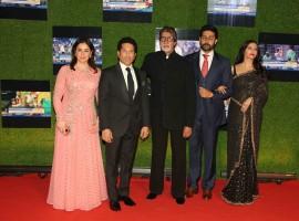 Former Indian cricket player Sachin Tendulkar with his wife Anjali Tendulkar, Bollywood actors Amitabh Bachchan, Abhishek and Aishwarya Rai Bachchan during the premiere of film Sachin: A Billion Dreams in Mumbai on May 24, 2017.