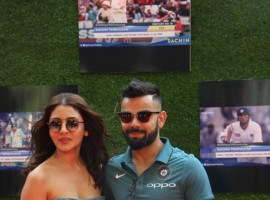 Actress Anushka Sharma and Cricketer Virat Kohli during the premiere of film Sachin: A Billion Dreams in Mumbai, on May 24, 2017.