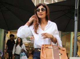 Bollywood actress Shilpa Shetty spotted at Kitchen Garden, Bandra in Mumbai on May 24, 2017.