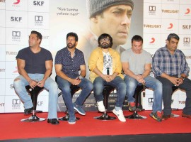 Bollywood actor Salman Khan, filmmaker Kabir Khan and actor Sohail Khan during the trailer launch of film Tubelight, in Mumbai on May 25, 20-17.