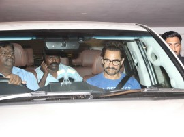 Bollywood actor Aamir Khan spotted during filmmaker Karan Johar's 45th birthday celebration party in Mumbai on May 25, 2017.