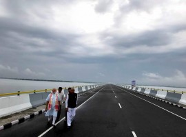 Prime Minister Narendra Modi on Friday inaugurated India's longest river bridge here in Assam. The over 9.2 km long Dhola-Sadiya bridge, built on the Lohit river, a tributary of the Brahmaputra, will connect Assam and Arunachal Pradesh.