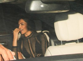 Bollywood actress Deepika Padukone clicked at Karan Johar's birthday bash.
