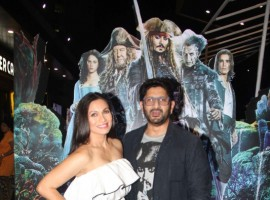 Bollywood actor Arshad Warsi along with his wife Maria Goretti during the screening of Hollywood film Pirates of The Caribbean: Salazar's Revenge, in Mumbai on May 25, 2017.