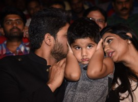 South Indian Actor Allu Arjun's son Allu Ayaan was the star of Duvvada Jaggannadham music launch.