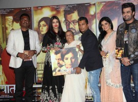 Fashion designer Vikram Phadnis, Bollywood actor Aishwarya Rai and Marathi film actor Mukta Barve during the music launch of marathi film Hrudayantar in Mumbai.