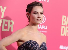 Actress Lily James shows her fabulous figure at Baby Driver premiere at Ace Hotel on June 14, 2017