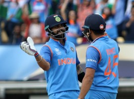 Chasing 265 to win after electing to field first, the defending champions did not flinch for one moment as Rohit Sharma scored his 11th career ton (123 not out) and captain Virat Kohli notched up his 42nd fifty (96 not out) to stitch up an unbeaten 178-run partnership for the second wicket. India won the match with 59 balls to spare. While Sharma's innings was laced with 15 fours and one six, Kohli smashed 13 boundaries. Kohli, in the process, became the fastest cricketer in the world to reach 8,000 runs in ODIs in just 175 innings. Openers Shikhar Dhawan and Sharma were off to a rollicking start in the first six overs.