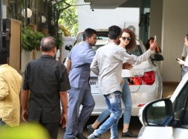Indian film actress Kangana Ranaut spotted at Vidhu Vinod Chopra House.