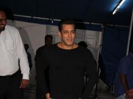 Tubelight actor Salman Khan spotted at Mehboob Studio in Mumbai.