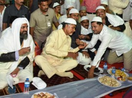 Andhra Chief Minister N. Chandrababu Naidu during an Iftaar party in Vijayawada on June 20, 2017.