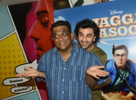 Bollywood actor Ranbir Kapoor and filmmaker Anurag Basu promote Jagaa Jasoos movie in Mumbai.