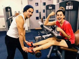 With all three actors - Varun, Taapsee and Jacqueline giving a slice of the fun they are all having while shooting on social media, we can't but wait to see what the film has in store. Recently we saw a short video of this trio having fun on sets of Judwaa 2 and even the one where Taapsee turned Punjabi tutor for Jacqueline. Yet again, Varun took to social media this morning with a picture of Taapsee and him in the gym proving that these two are bonding over fitness too. Both Varun and Taapsee are fitness freaks in their own way and love to stay active and this post truly proves that! In fact we hear they spend time working out together and sharing fitness tips and regimes with each other. Taapsee being an expert squash player even took Varun to court and played the game with him.
