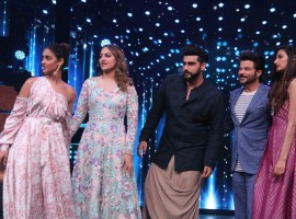 Bollywood actors Ileana D'Cruz, Sonakshi Sinha, Arjun Kapoor, Anil Kapoor, Athiya Shetty and choreographer Terence Lewis during the promotion of film Mubarakan on the sets of Star Plus TV show Nach Baliye Season 8 in Mumbai