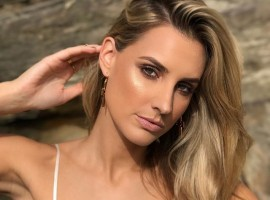 Australian actress Laura Dundovic flaunts her ample cleavage.