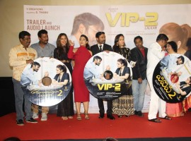 South Indian actor Amala Paul, Bollywood actors Kajol, Dhanush, filmmaker Soundarya Rajinikanth and South Indian music composer Sean Roldan during the trailer launch of film VIP 2 Lalkar, in Mumbai, India on June 25, 2017.