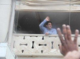Salman Khan greets his fans outside Galaxy Apartments on the occasion of Eid.