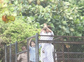 Shah Rukh Khan greet his fans on the occasion of Eid al-Fitr, in Mumbai