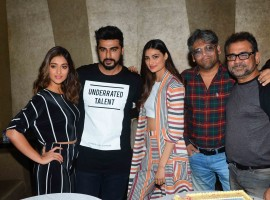 ollywood actor Arjun Kapoor celebrates his Birthday with ILeana Dcruz, Athiya Shetty, and filmmaker Anees Bazmee during the promotion of film Mubarakan in Mumbai.