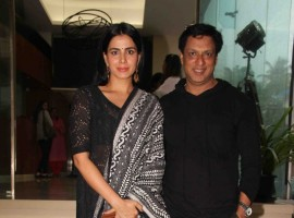 Bollywood filmmaker Madhur Bhandarkar and actor Kirti Kulhari during the launch of Qawwali Chadhta Soorag from film Indu Sarkar, in Mumbai on June 28, 2017.