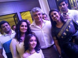 Vivegam star Ajith Kumar with his family.