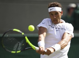 Spanish tennis player Rafael Nadal during men's singles first round of Wimbledon 2017.