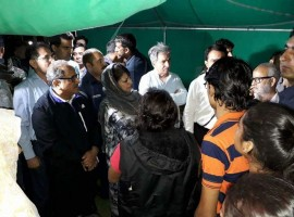 Chief Minister of Jammu and Kashmir Mehbooba Mufti with Deputy Chief Minister Nirmal Singh meeting the injured pilgrims in a hospital in Anantnag on July 10, 2017.