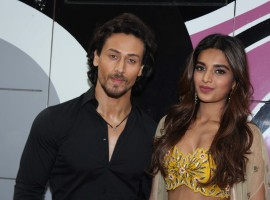 Actor Tiger Shroff and actress Nidhhi Agerwal promote Munna Michael on the sets of 'The Drama Company'.