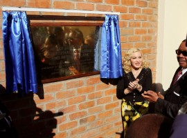 Madonna reacts during the opening of her Mercy James hospital in Blantyre, Malawi.