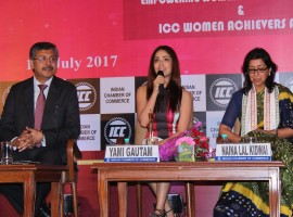 Actress Yami Gautam spotted at ICC Women Achiever Awards 2017.