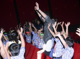 Bollywood actor Ranbir Kapoor interacts with kids at a special screening of Jagga Jasoos.
